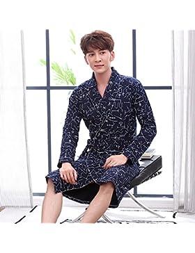 Mangeoo pijamas de manga larga, pijamas de hombre, albornoces de primavera y otoño, kimono de algodón, albornoces...