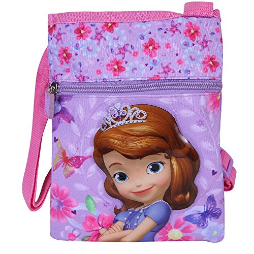 Umhängetasche für Mädchen mit Sofia die Erste - Kleine Flacher Umhänge für Kinder - Violett Tasche für Reisen und Freizeit - Perletti 21x17 cm