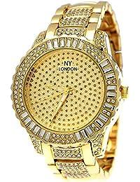 Edle XXL designer Strass Damenuhr Damen Armband Uhr in Gold inkl. Uhrenbox