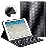 Funda de teclado para iPad 2017 nuevo 9.7'/ iPad Air / iPad Air 2 - GOOJODOQ [Actualización] Cubierta de soporte TPU suave [Ángulo de visión ajustable] + Teclado inalámbrico Bluetooth V3.0 desmontable magnéticamente