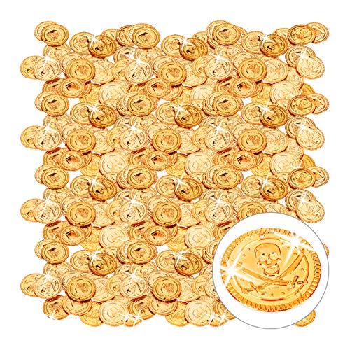 Relaxdays 576x Goldtaler Piraten, Piratenschatz aus 576 Münzen, Plastik Spielgeld für Kindergeburtstage & Fasching, PP, Gold (Schatztruhe Pirat Kostüm)