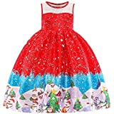 Clearance Forthery Girls Dress Christmas Santa Vintage Reindeer Snowflake Tulle Lace Dress Gift(red2, 2-3years)