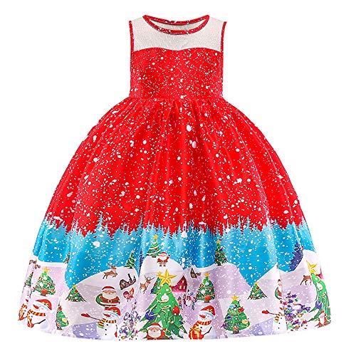 (Fenverk Kleinkind Kinder Baby MäDchen Weihnachtsmann Drucken Prinzessinenkleid Weihnachten Outfits Kleider Offiziell Disney Fee Geschichte Schlafen SchöNheit KostüM Party(rot,5-6 Jahre))