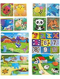Super Large Bundle of 12 x Wooden Puzzles featuring Numbers, Wild Animals, Dinosaurs & Farm Animals - 3 Years+