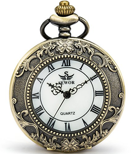 SEWOR Blumenmuster Unisex Japanese Quartz Movement Pocket Watch with Metal and Leather Chain SEW150 (Gold)