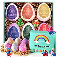 GAINWELL KIDS Bath Bombs Gift Set -XL SIZE(6 x 5 Oz) - Handmade Essential Oil Spa Galaxy Bomb Fizzies with Hand Painted Wooden Toys
