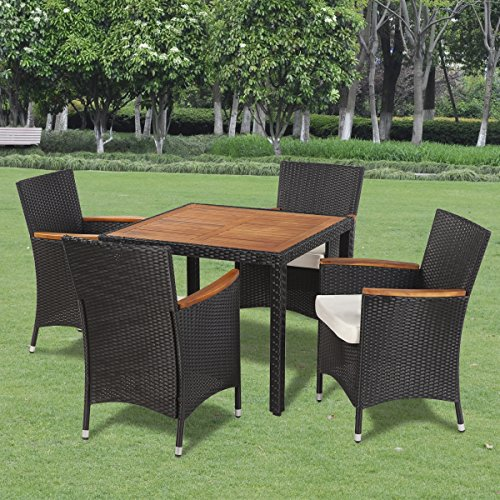LD Poly Rattan Gartenmöbel Gartengarnitur Holz Sitzgruppe Essgruppe Tisch +Stühle
