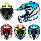 Kinderhelm Motorradhelm Kinder Motorradhelm - Kinder Motocross Motorrad Motorrad Roller MX Helm Off Road Racing Junior Kinder Full Face Helm - 4 verschiedene Farbe - Gelb XXXS (43-44 cm)