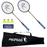 HIPKOO SPORTS Steel Alloy Grab Badminton Racquet Set with 3 Shuttlecocks Badminton Kit (Blue, HXBRSET_BL)
