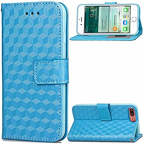 iPhone 7 Plus Custodia in Pelle,iPhone 7 Plus Cover Portafoglio,Cozy Hut Vintage Elegante Semplice Disegni Leather / PU Flip Wallet Libro Bookstyle Con Chiusura Magnetica Slim Sottile Shockproof / Anti Resistenza Protettiva Supporto Case Cover Bumper per Apple iPhone 7 Plus - azzurro