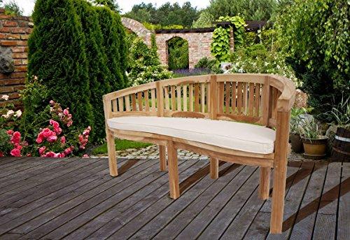 SAM Teak-Holz 3 Sitzer Bananenbank, Sitzbank, Gartenbank, 150 cm Banana, naturbelassene Holzbank, ideal für den Sommer