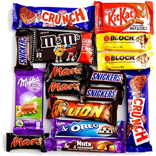 Snacks de Chocolate. En Caja para Regalo con 16 chocolatinas de máxima calidad.