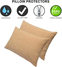 Dream Care Waterproof Pillow Protector, 18 x 28 inch, Set of 2, Beige