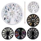 Décorations d'Ongles 3D, 6 Roues Pierres de Strass Cristaux à Ongles Nail Art Strass Colorées avec Crayon Picker en Strass