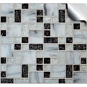 24 stück Fliesenaufkleber für Küche und Bad (TP 71 6in- Black Mosaic Marble)   Mosaik Wandfliese Aufkleber für 15x15cm Fliesen
