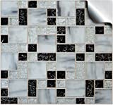 24 stück Fliesenaufkleber für Küche und Bad (Tile Style Decals 24xTP 71 - 6in- Black Mosaic Marble) | Mosaik Wandfliese Aufkleber für 15x15cm Fliesen | Fliesen-Aufkleber Folie Farbe - Mitternachtsblau | Deko-Fliesenfolie für Küche u. Bad (15cm - 24 stück, Schwarz Mosaik Marmor)