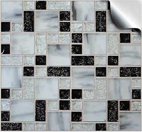 24 Printed in 2d Kitchen Bathroom Tile STICKERS For 150mm (6inch) Square Tiles –(24 Black Mosaic Marble - TP 71)- Directly From TILE STYLE DECALS, No Middleman