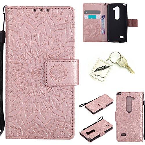 Silikonsoftshell PU Hülle für LG LEON LTE / C40 / H340N (4,5 Zoll) Tasche Schutz Hülle Case Cover Etui Strass Schutz schutzhülle Bumper Schale Silicone case(+Exquisite key chain X1) #KD (5) (Holster Lg)