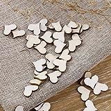 WINOMO 100 Stück Deko Herz Streudeko Hochzeitsdekoration Konfetti Herz aus Holz - 3