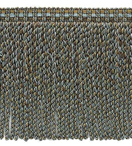 DecoPro 4,6 m Sparpack Spa-Blau, Mokkka Braun, Schokoladenbraun 15 cm dekorative Knüppelfransen, Stil#: BFV6 - Farbe: VNT34 - Mokka Blau -