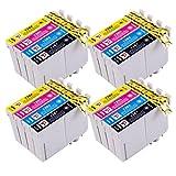 PerfectPrint Kompatibel Tinte Patrone Ersetzen für Epson Stylus S22 SX-125 130 420W 425W 445W  SX230 SX235W 445W 435W 430W 438W 440W BX-305F 305FW T1285 (Schwarz/Cyan/Magenta/Gelb, 16-pack)