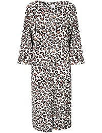 ad79d6e8b8 Ladies Zip Front Animal Print Fleece Dressing Gown. Ivory Brown. Sizes 10-