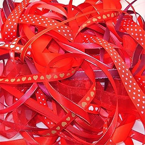Luxbon Cinta Navidad Año Nuevo 20m (10 x 2m) Multi-tipos DIY Decoración para Regalo Coser Fiesta Boda Rojo