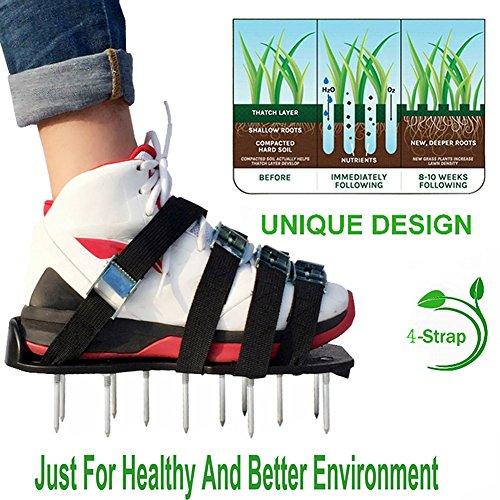 DAN&DLAM Rasenbelüfter-Schuhe, Spikes, Sandalen, mit Riemen und Schnalle, verstellbar, 4/, One size, sorgt für Belüftung für Ihren - Wachsen Fuß Licht 4