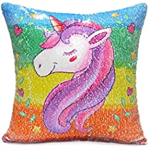 Houda Unicorn - Funda de Almohada, diseño de Unicornio Sirena con Lentejuelas Reversibles