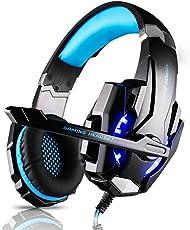 Tsing G9000 Gaming Headset, Professionelle Gaming Kopfhörer mit Mikrofon 3.5mm On Ear Surround Sound Ohrhörer mit Bass-Stereo Lautstärkeregelung für PS4 PC Laptop Tablet Mobile Phones Blau