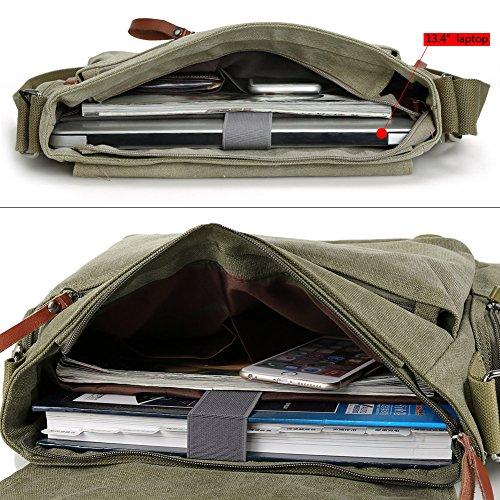 Zicac Neu Herren Canvas Schultertasche Schultasche für Outdoor Canvas Leder Umhängetaschen Vintag Tasche Canvas Rucksack Canvas Aktentasche (Khaki(1)) Grün
