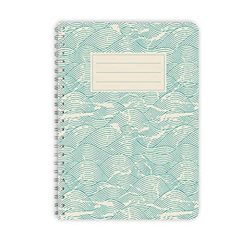 purepaper Notizblock | Notizbuch | Spiralblock 1002 MINT WAVES, DIN A5 60 Blatt blanko