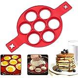 Pannkaka silikonform, 7 cirklar pannkaksform, bakform äggtillverkare pannkaka flipper äggring non-stick silikon runda äggring