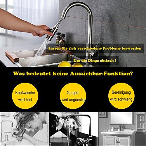 Homelody Spültischarmatur mit herausziehbarem /Ausziehbar Brause Einhebelmischer Wasserhahn Küche Armatur Mischbatterie Wasserkran hoher Auslauf Küchenarmatur -