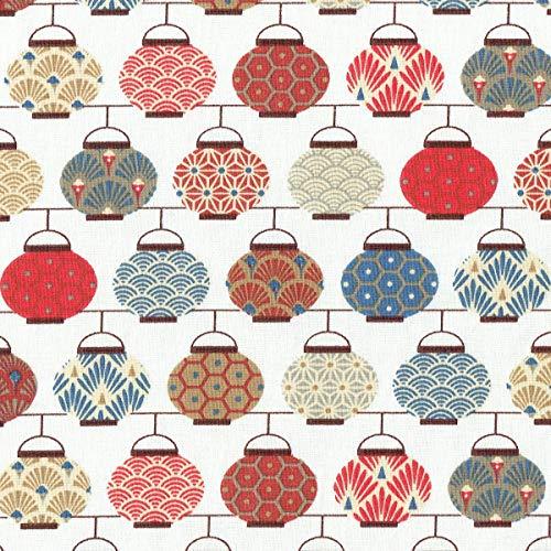 Rote Laterne Stoff (Textiles français Baumwollstoff | Japanische Laternen Stoff | Mehrfarbig: Rot, Blau, Grau, Beige & Taupe (Grundfarbe: Cremeweiß) | 100% Baumwolle | Stoffbreite: 160 cm (pro Laufmeter)*)