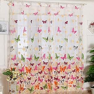Papillons imprim s voilages rideaux eenkula voilages de - Rideaux pour salle de sejour ...