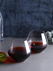 bohemia-crystal Wine - Glass Set, Non Lead Crystal Amoroso Stemless Glass (340 Ml) - Set Of 2 Pieces