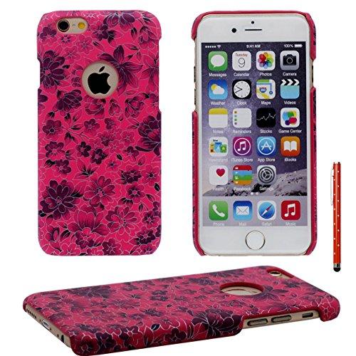 iPhone 6 Plus Coque, Élégant Fleur Motif Serie Mince Poids léger ( Ajustement parfait ) Dur Plastique Housse de Protection Case pour Apple iPhone 6 Plus / 6S Plus 5.5 inch avec 1 stylet rouge