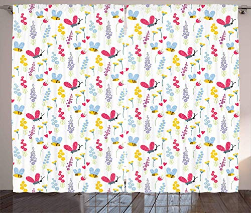 FAFANIQ Bee Curtains, Love of Nature Summer Flowers and Flying Bees and Insects Illustration Floral Theme, Living Room Bedroom Window...