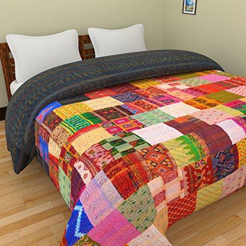 Aditi Impex Chic & Comfort My Home My Life Bettwäsche-Set für Doppelbett, Seide, Kantha-Patchwork, 220 x 270 cm, Mehrfarbig -