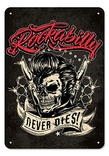 GASOLINE BANDIT Original Deko-Blechschild: Rockabilly Never Dies!
