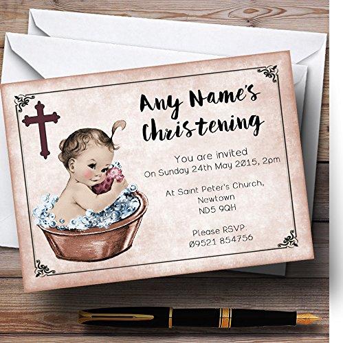 Vintage Baby Girl in vasca inviti per