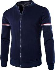 Mose Men's Handsome Shirt Zipper Long Sleeve Patchwork Hoodie Sweatshirt Tops Jacket Coat Outwear