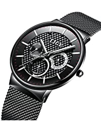 Whatches Men,Gents Stainless Steel Business Luxury Dress WristWatch Waterproof Analog Big Face Dial Sport Watches Casual Milanese Mesh Watch Band Gold Black for Men