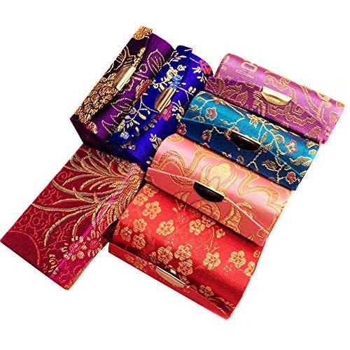 n Seidig Stoff Brokat Stickerei Lippenstift Schmuck Boxen mit Spiegel und Floral Prints sortiert für Damen beste Geschenk (zufällige Farben) (Nehmen Sie Ihre Canvas Taschen)