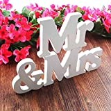 BESTZY Mr & Mrs Wooden Letters Wedding Decoration/Present Madera...