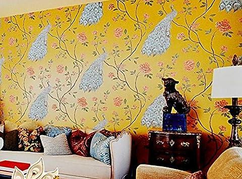 Chinesische Tapete Wohnzimmer Schlafzimmer Hintergrundbild Südostasien Stickerei Vögel Tapeten B