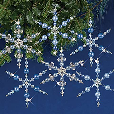 Solid Oak Kit Beaded Ornament Snowflakes Crystal/Black