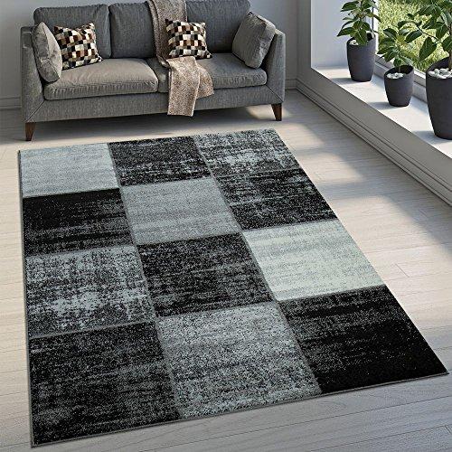 Paco Home Alfombra De Diseño Moderna De Velour Corto A Cuadros Especial Mezclada Gris, Negra Y Blanca, tamaño:120x170 cm