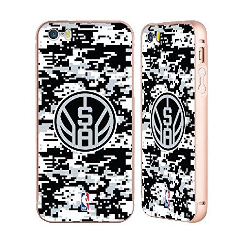 Ufficiale NBA Rovinato San Antonio Spurs Oro Cover Contorno con Bumper in Alluminio per Apple iPhone 5 / 5s / SE Camouflage Digitale